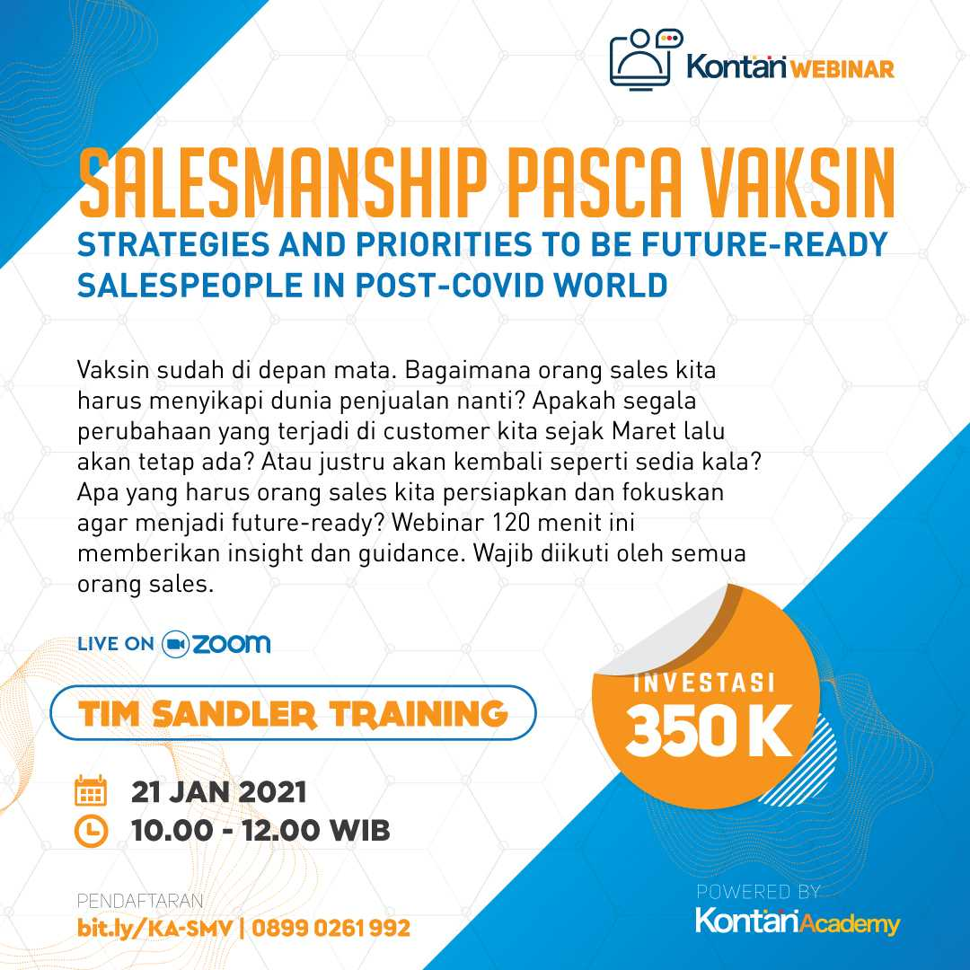 SALESMANSHIP PASCA VAKSIN Strategies and Priorities To Be Future-Ready Salespeople In Post-Covid World